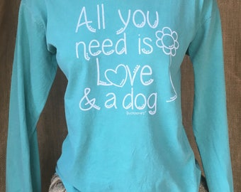 Medium Southern prep dog lover inspired Comfort Colors Long Sleeve Shirt