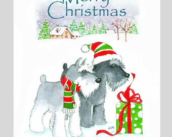Schnauzer Christmas Cards, Box of 16 Cards with 16 White Envelops