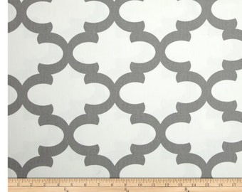 Extra wide gray and white  cotton twill and cotton duck shower curtain