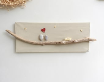 Wall decor for child's room: table driftwood and pebbles - birth gift - baptism gift