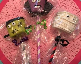 Giant Monster Halloween Marshmallows: Frankenstein, Mummy, or Vampire Individually Wrapped