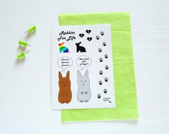 Rabbit Stickers. Bunny Lovers Gift. Cute Animal Designs. Small Pet Accessory. Present Idea. Vinyl Stickers. Scrapbooking. Embellishments.