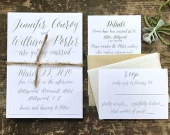 Calligraphy Script Wedding Invitations, Modern Wedding Invitations, Gray Wedding Invites
