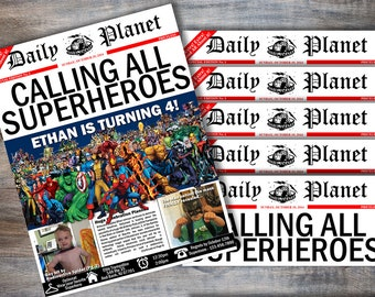 Personalize & Customize Superhero Birthday Invitations - Daily Planet Newspaper Invitation - Marvel Superhero Birthday -