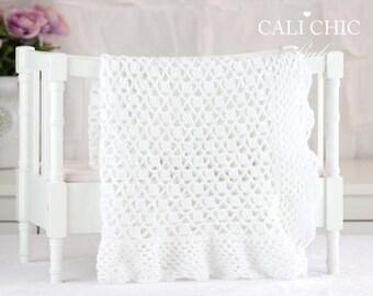 Crochet Blanket PATTERN 149 - Grace - Crochet Baby Blanket PATTERN 149 - Christening Blanket Pattern - Instant Download