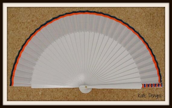 White Navy Orange Bling SIZE OPTIONS Hand Held Folding Fan From Spain MTO