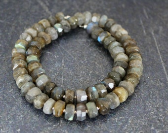 Labradorite Necklace, Faceted Labradorite Rondelles, Sterling Silver Beads, Labradorite Jewelry, Blue Flash Labradorite, Labradorite Beads