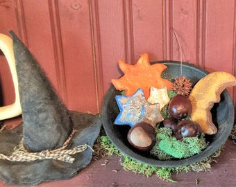 Primitive Celestial Decoration,Salt Dough Bowl Filler,Sun Moon Stars Bowl Fillers,Primitive Decor Rustic Grubby Celestial,Celestial Accents