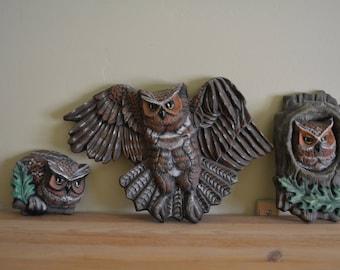Ceramic Owl Trio Wall Art