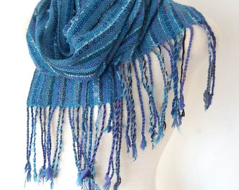 Woven Scarf Teal Green Wool Scarf Handwoven Scarf Weaving Hand Woven Clothing Handwoven Wool Shawl Unique Handmade Scarves Womens Woven Wrap