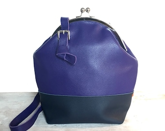 Shoulder bag, blue shoulder bag, leatherbag, shoulderbag, purse, purse frame, Designtas, exclusive, Marinabag, blue leather