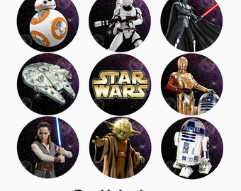 Star Wars Edible Transfer Sheets for making Theme Birthday Party Chocolate Oreos , Cupcake toppers, Lollipops, Favors