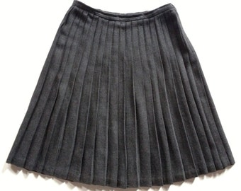 Vintage Charcoal Wool Blend Pleated Skirt