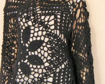 Handmade crochet poncho with silver beads , black poncho, spring poncho, lace poncho SPRING AUTUMN