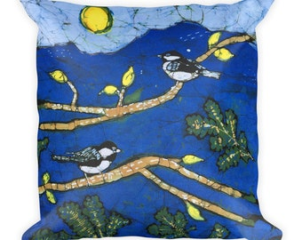 "Square pillow (18"" x 18"") with chickadees on tree branched batik print (on both sides)"