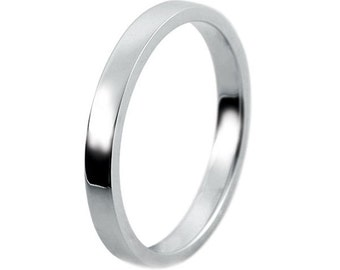 Plain silver wedding ring band. Handmade in polished silver. Flat profile. Hallmarked. Ref: F2MM