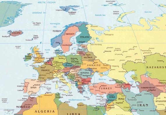 Digital Modern Political World Map Hight Printable Download - Printable world map