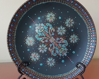 Unique, ceramic plate, decorative plate, dish on stand, hand-painted plate, floral, mandala design, dot art.