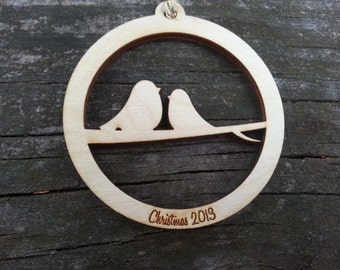 Two Turtle Doves Ornament (birch wood)
