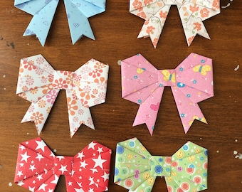 Assortment of Large Peel and Stick Origami Gift Bows, Gift Wrap, Gift Wrap Accessories, Christmas, Presents, Ribbons, Stickers, Set of 12