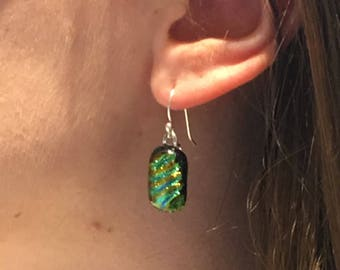 Sparkly Dichroic Fused Glass Earrings