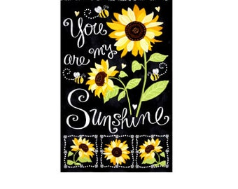 """You Are My Sunshine Sunflower Chalkboard 23.5"""" Panel Black Color ~ Timeless Treasures Collection, Cotton Quilt Fabric, Buy More and Save"""