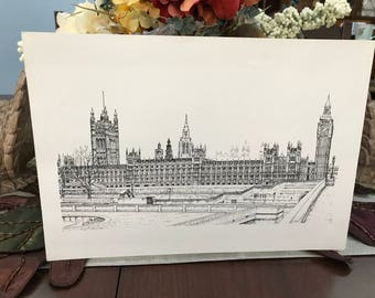 VINTAGE - Black and White Sketch Print of Parliament