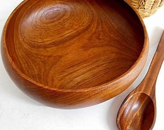 Vintage Wooden Teak Salad Bowl with Salad Serveing Spoon