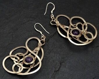 Purple Dangle Earrings, Silver Earrings, Wire Wrap Earrings, Amethyst Earrings, Boho Earrings, Gemstone Earrings, Large Earrings