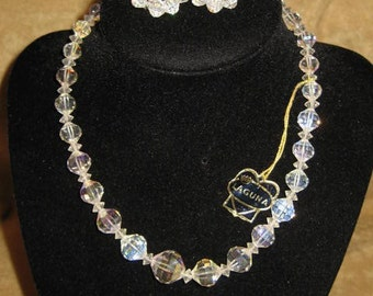 Crystal Necklace & Clip Earrings Laguna Vintage