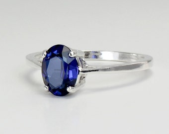 Blue Sapphire Ring Sterling Silver / Blue Sapphire Ring Silver