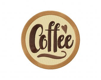 Coffee cafe embroidery design