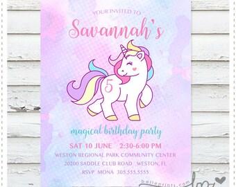 Unicorn Watercolor Birthday Invitation