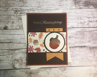 Thanksgiving Card - Happy Thanksgiving - Fall - Acorns