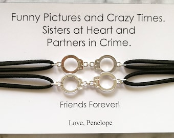 PARTNERS IN CRIME Suede Choker, Partners in Crime Necklace with Card, Handcuff Necklace, Friendship Necklace, Friends Handcuff Necklace