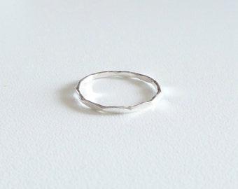 Sterling stacking ring,1.mm 18 gauge hammered silver ring, silver ring band, 925 sterling silver ring