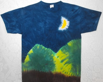 Tie Dye Moon T Shirt with Green Mountains