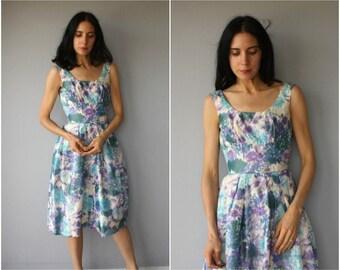 Vintage 50s Dress • 1950s Party Dress • 1950s Floral Print Dress • 1950s Formal Dress • 1950s Dress • 1950s Prom Dress - (small)