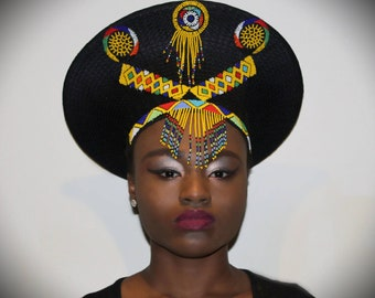 Bespoke Zulu Hat (Isicholo) - Black embellished with beads