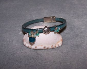"""Teal"" bracelet in leather, glass and semi-precious stone - zinc alloy clasp"