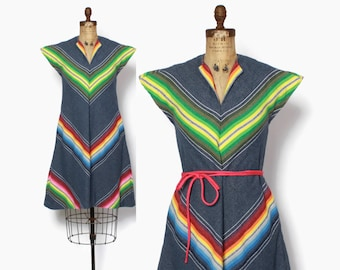 Vintage 60s Rainbow Stripe DRESS / 1960s Denim-Look Chevron Striped Dress