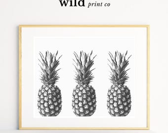 Pineapple Print, Tropical Wall Art, Fruit Print, Tropical Fruit Wall Art, Pineapple Decor, Kitchen Wall Decor, Black and White Prints