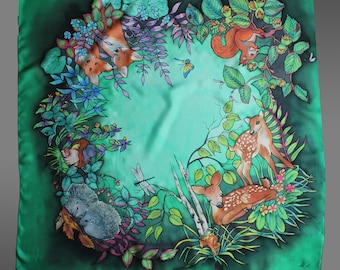 Hand painted silk scarf with forest animals. Green silk scarf. Square silk scarf. Art to wear. Ready to ship.