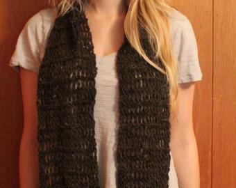 Long Walnut Brown Churro Wool Scarf with fringe