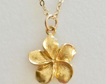 Plumeria Necklace, Hawaiian Flower, Gold  Vermeil Flower Charm, Dainty Gold Floral Necklace, Bridal, Island Jewelry, 14K Gold Fill