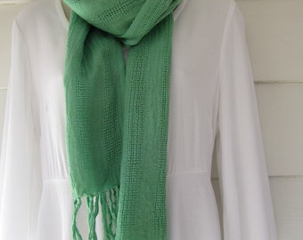 Hand-dyed, MX  fiber-reactive dye, green, cotton scarf with fringe, hand woven in Java