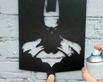 Batman Stencil - Wall Art - Plastic Reusable - Painting - Art Supply - Any Custom Size