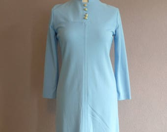 1970s Blue Vintage Dress // Textured dress with 3/4 sleeves