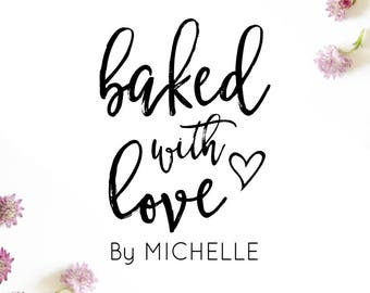 Baked With Love Stamp, Baked With Love Gift Tags Stamp, Wedding Favors Stamp, Personalized Baked Goods Stamp, Wedding Favours Stamp, (cts215