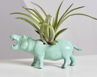Animal planter, hippo, planter, kids room, home decor, party decor, baby shower, unique gift, kids gift, party decor